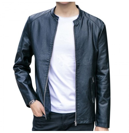 Men Zipper Stand Collar Leather Jacket