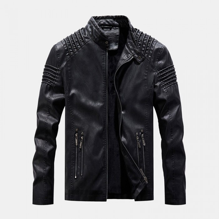 Mens Vintage PU Windproof Zippers Stand Collar Thick Jacket