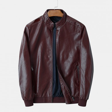 Mens PU Vintage Stand Collar Zipper Thick Casual Jacket