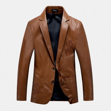 Mens Stylish PU Inside Pockets Casual Thick Leather Jacket