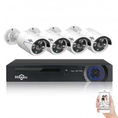 Hiseeu 4CH 4MP POE Security Camera System Kit H.265 IP Camera Outdoor Waterproof Home CCTV Video Surveillance NVR Set