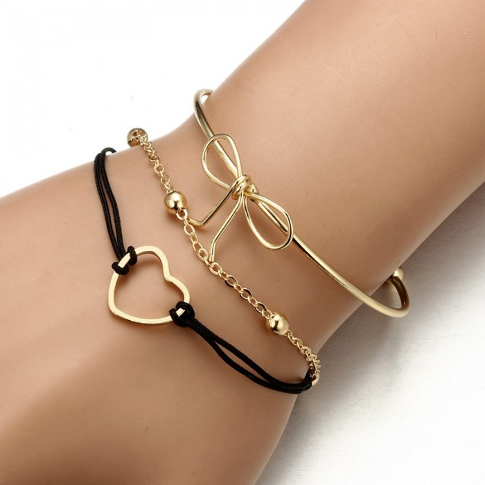 3Pcs Designer Bracelet Sets Bowknot Heart Gold Charming