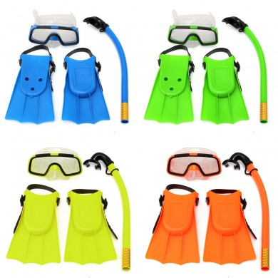 Junior Children Snorkeling Set Snorkel Mask Goggles Flippers Scuba Swimming Diving Kids Set