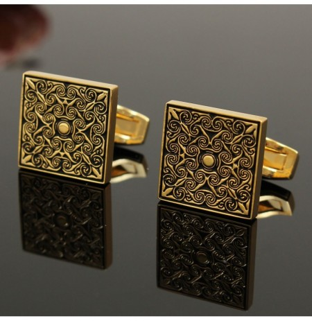 Men Male Royal Gold Square Grid Cufflinks Wedding Party Gift Shirt Suit Accessories