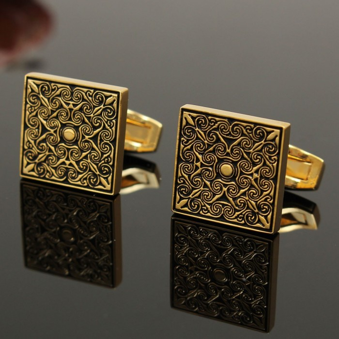 Men Male Royal Gold Square Grid Cufflinks Wedding Party Gift Shirt