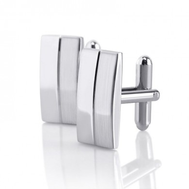 Men Male Silver Rectangle Cufflinks Wedding Gift Suit  Shirt Accessories