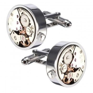 Men Male Silver Mechanical Watch Pattern Cufflinks Wedding Gift Suit Shirt Accessories