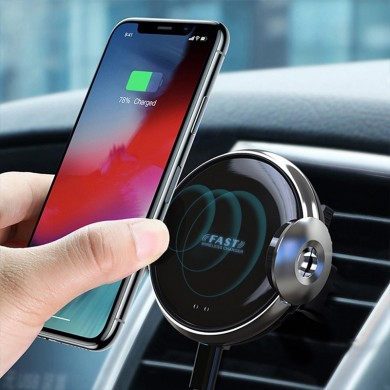 W9 15W Wireless Charger Infrared Sensor Clamping Air Vent Dashboard Car Phone Holder For 4.0-6.5 Inch Smart Phone iPhone 11