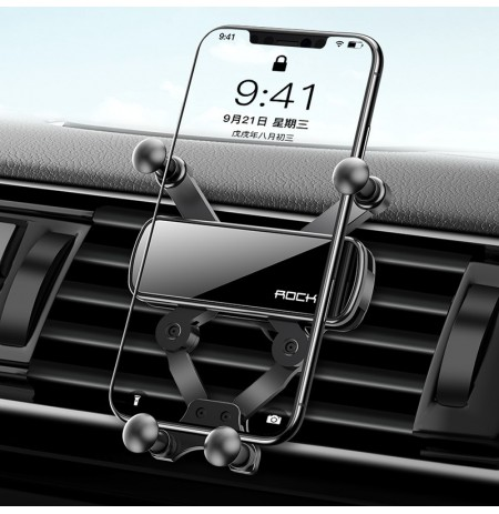 Rock Mini Gravity Linkage Automatic Linkage Air Vent Car Phone Holder For 4.5-6.5 Inch Smart Phone For iPhone 11 Pro Max For Sam