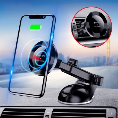 Yesido 10W Wireless Charger Nanoadsorption Infrared Sensor Air Vent Dashboard Car Phone Holder For 4.0-6.8 Inch Smart Phone