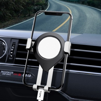 TOPK Metal Gravity Linkage Automatic Lock Air Vent Car Phone Holder For 4.5-6.5 Inch Smart Phone for iPhone for Samsung Xiaomi R