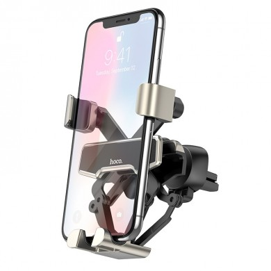 HOCO Metal Gravity Linkage Automatic Lock Air Vent Car Phone Holder Car Mount for 4.0-6.5 Inch Smart Phone for iPhone 11 for Sam