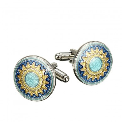 Men Vintage Enamel Sunflower Gold Silver Cufflinks  Wedding Party Gift Shirt Suit Accessories