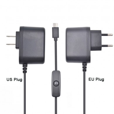 XIAO R 5V 3A Type-C US/EU Plug Power Charger Adapter With Switch For Raspberry Pi 4B