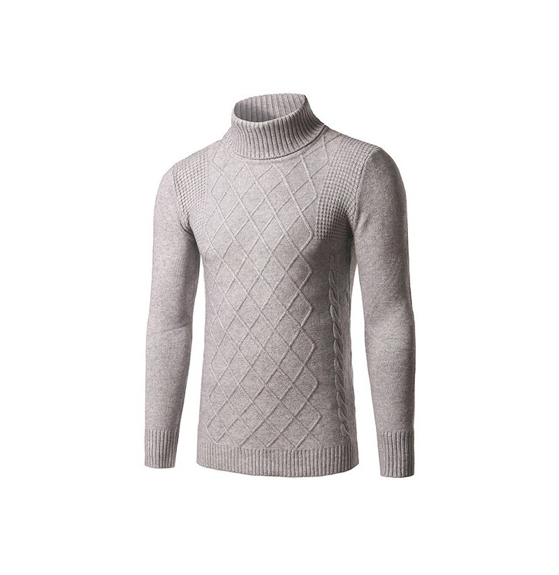Fashion Mens Down Neck Solid Color Pullover Classic Diamond Pattern Slim Fit Knitte Sweater (Color: Gray, Size: XL) фото