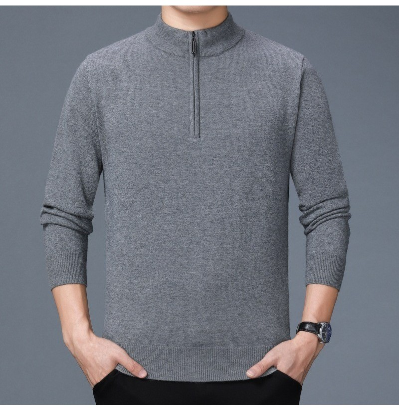 Mens Knitting Fashion Half High Collar Casual Sweaters (Color: Gray, SIZE: XL) фото