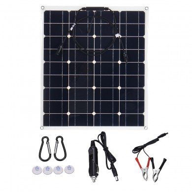 JH-60 60W 18V Dual USB Flexible Solar Panel Battery Charger Kit with Solar Controller