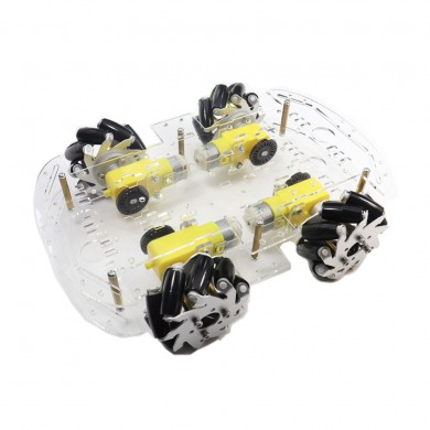 4WD 65mm Metal Omnidirectional Wheel Doble capa de acrílico Chasis Coche Kit para DIY Smart Robot