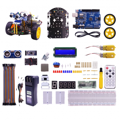 Yahboom 2WD Multi-functional Smartduino Starter Kit Smart Robot 2in1 for  Uno R3 Compatible Scratch3.0 Programming Education