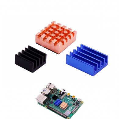 1 Copper Sheet + 2 Aluminum Sheets Heatsink Kit with Black Glue for Raspberry Pi 4B