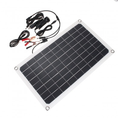 20W Semi-Flexible Solar Panel Dual DC Output for Camping Outdoor Working