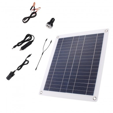 25W Solar Panel Dual USB Battery Charger For Camping Outdoor Working