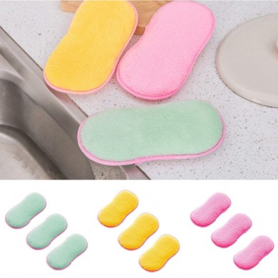 Honana Kitchen Cleaning Scouring Pad 1PC Double Sided Antibacterial Scrubbing Cleaning Sponge