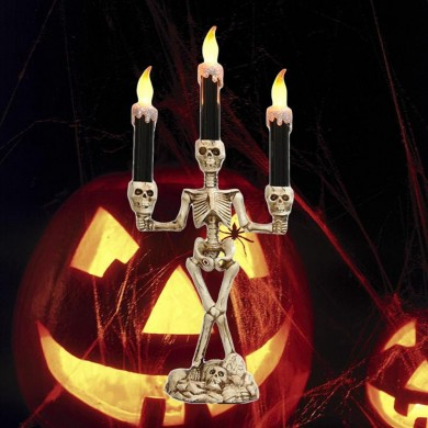 Batteria Powered Prop Skeleton Ghost Haunted 3 LED Candle Holder Sfondo tavolo Halloween Party Decor