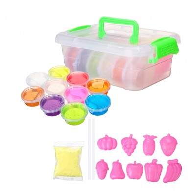 DIY Crystal Slime Kit 10 Colors Fluffy Clay Stress Relief Soft Plasticine Toys