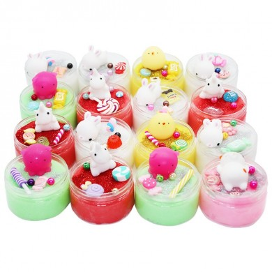Fluffy Slime DIY Mochi Squishy Cat Chick Crystal Silk Cloud Mud 100ml Stress Reliever Kids Adults Play Toy