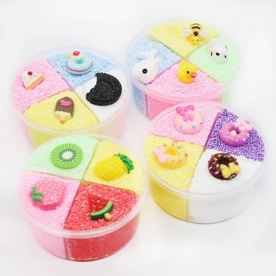 Four-color Slime Unmixed Fruit Dessert Animal Snow Rice Cotton Mud Clay 120ml