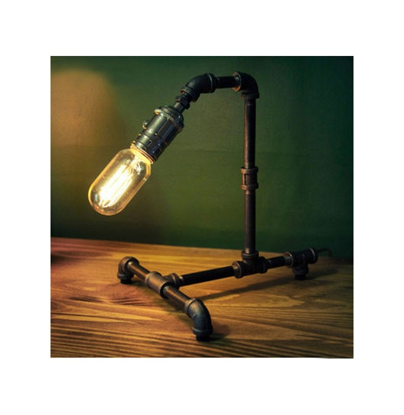 Bar Lamp Decoration: Retro Vintage Water Pipe Edison Bulb Table Lamp Light Home