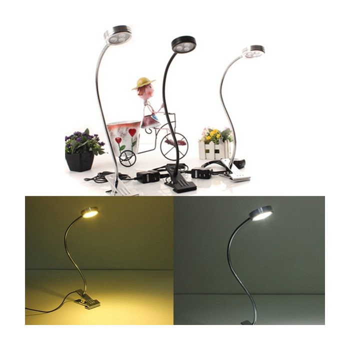 3w bendable led table light bedside study reading lamp with clip aloadofball Gallery