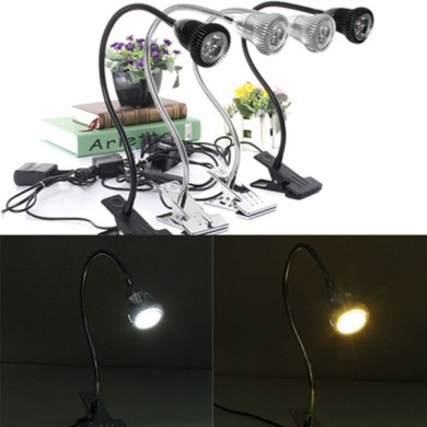 3W Flexible LED Clip Table Light Bedside Spot Lamp for Camping Study Reading