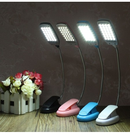 LED Flexible USB Reading Lamp Clip-on Desk Table Bed Laptop Light