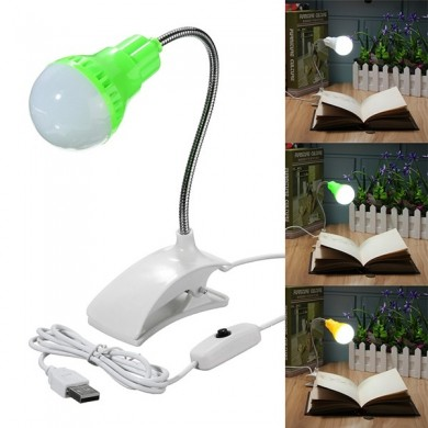 Flexible USB LED Clip-on Clamp Reading Study Book Table Light Bed Desk Lamp