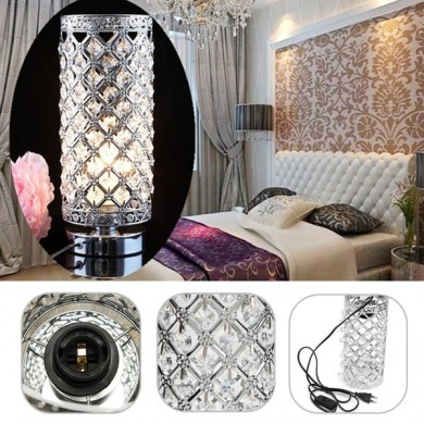 E27 Cylindrical Crystal Table Desk Light Bedroom Bedside Lamp Home Decoration 220V