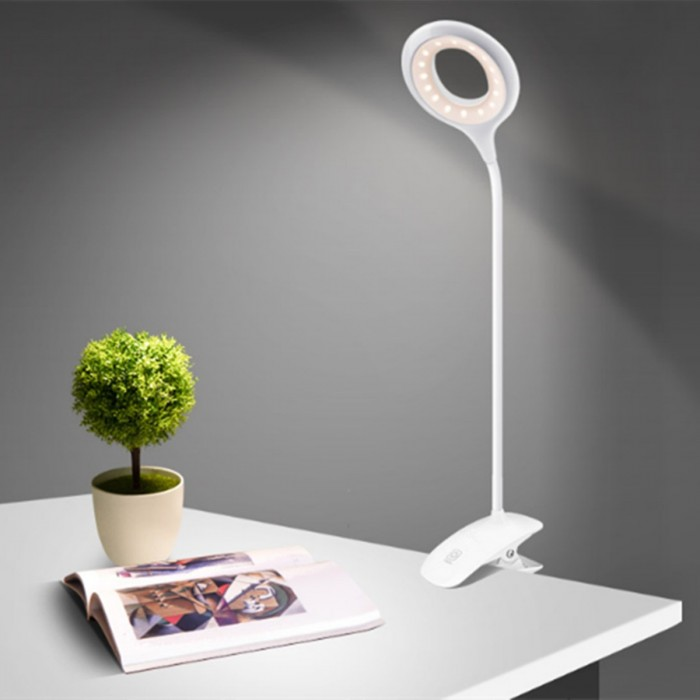 DC5V 500MA 3W LED USB Rechargeable Clip Table Lamp Touch Sensor Dimmable Desk Light for Reading