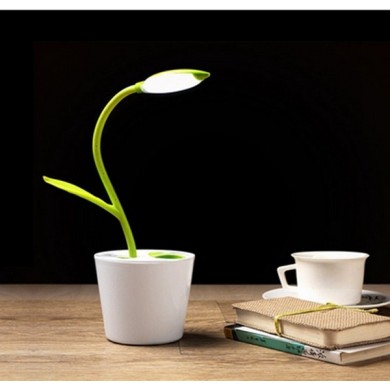 Flexible Touch Dimmable LED Table Lamp USB Rechargeable with Plant Pencil Holder
