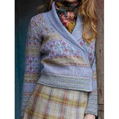 Vintage Shawl Collar Knitted Floral Print Outerwear