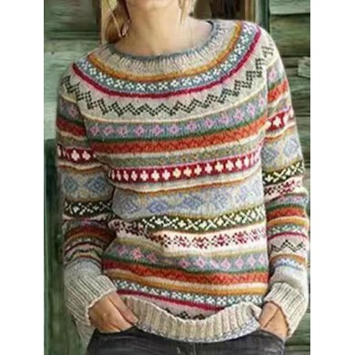 Crew Neck Long Sleeve Color-Block Knited Sweaters