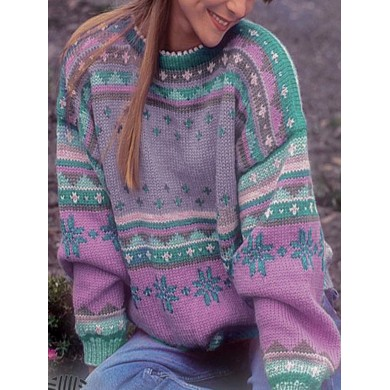 Casual Long Sleeved Round Neck Print Sweaters