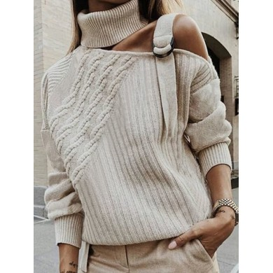 Women Casual Pure Color High Collar Off Shoulder Sweaters