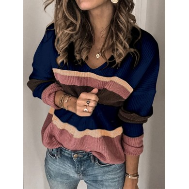 Casual Loose Women Contrast Color Pullover V-Neck Sweaters