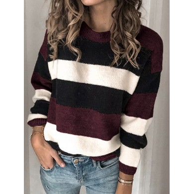 Women Color Block Casual Pullover Loose Sweaters