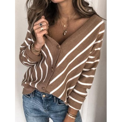 Women V-Neck Striped Knitted Casual Sweaters