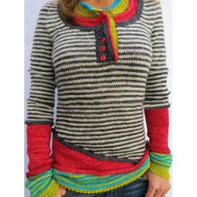 Stripe Long Sleeve Button Contrast Color Sweaters For Women