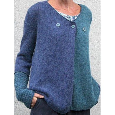 V-Neck Color Block Casual Loose Buttons Sweaters