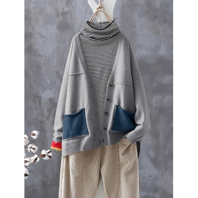Vintage Patch Long Sleeve Knit Cardigans Sweaters