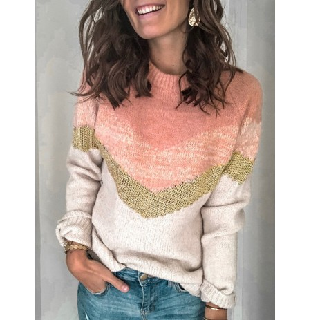 Women Causal Color Patchwork O-neck Knit Sweaters